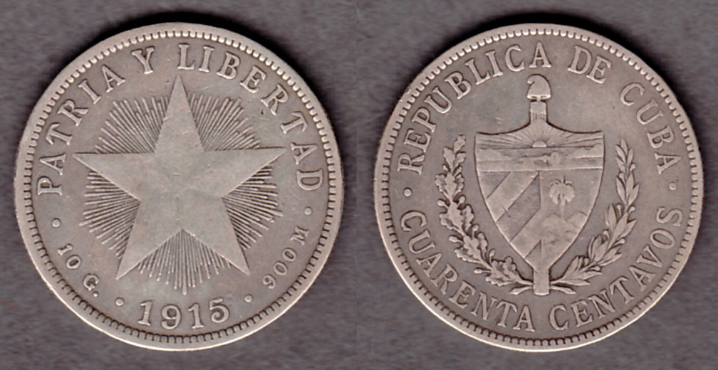 1915 40c Collectable silver coins Cuba