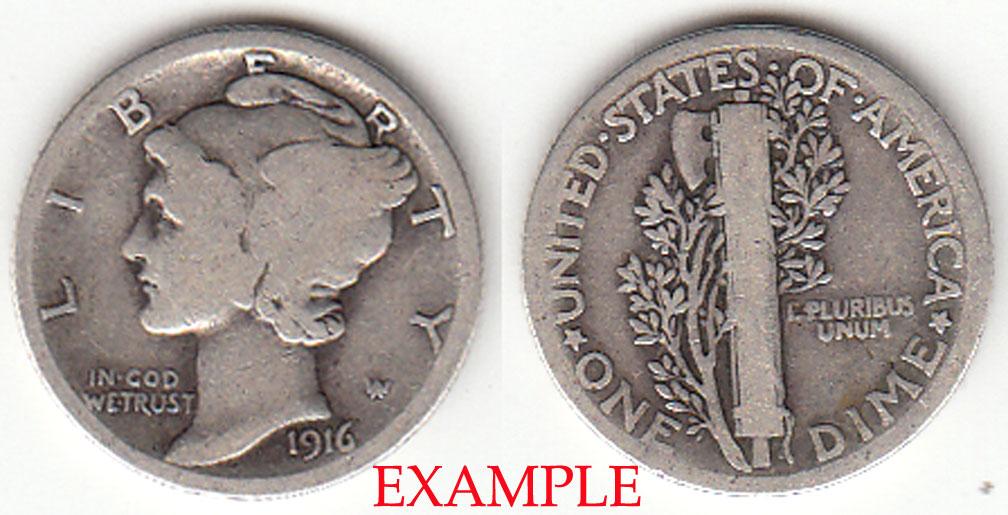 1916 10c US mercury silver dime