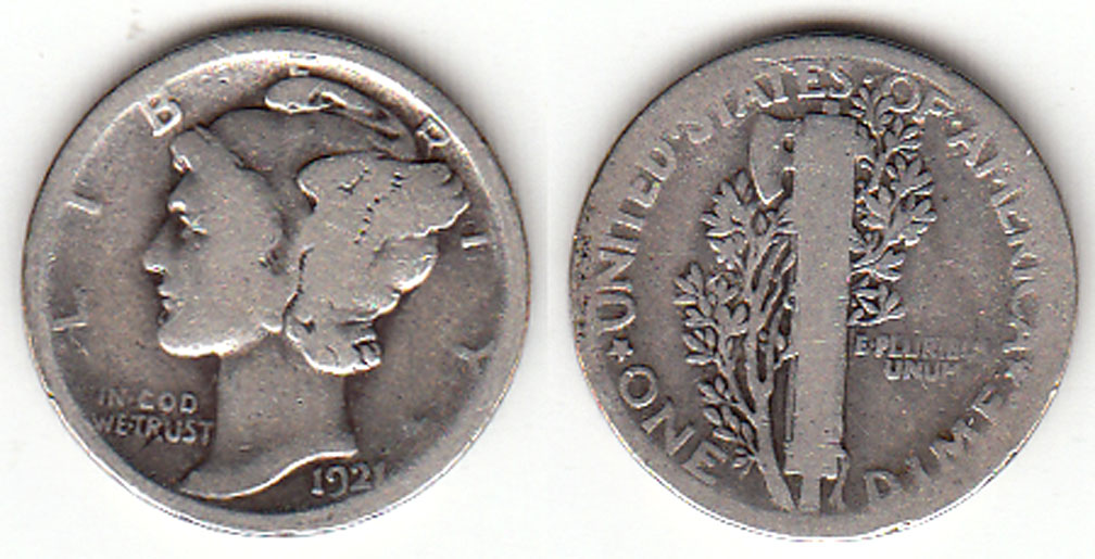 1921 10c US silver dime