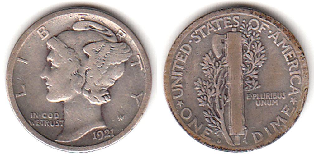 1921-D 10c US silver dime