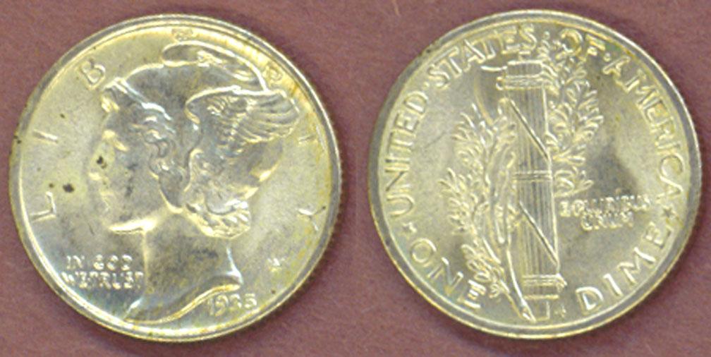 1935 10c Mercury Head silver dime