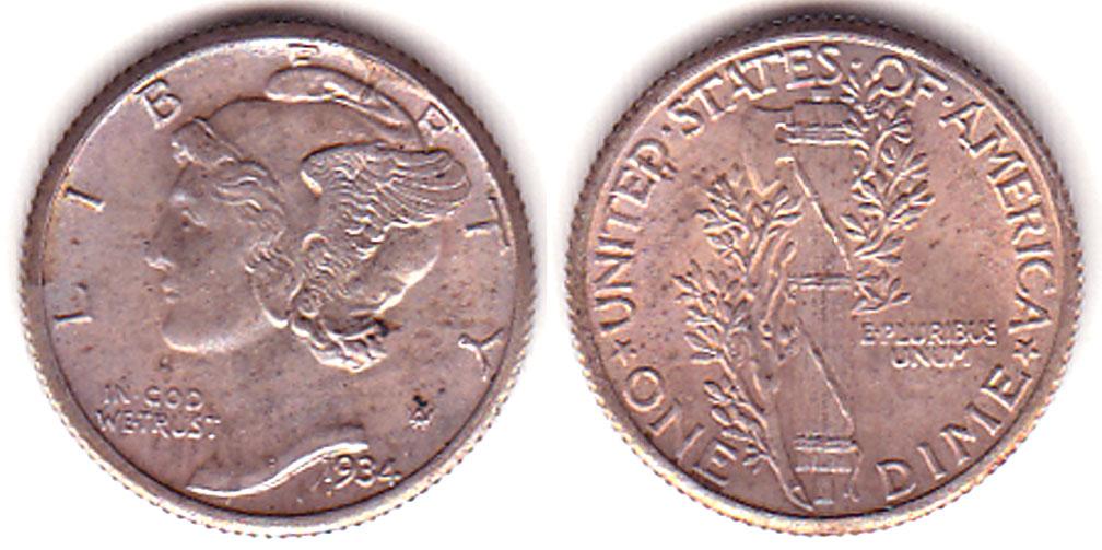 1934 10c Mercury Head silver dime