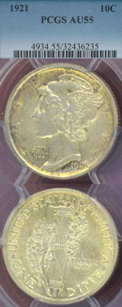 1921 10c US silver dime scarce date