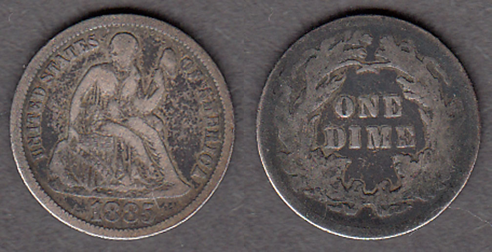 1875 10c US liberty seated silver dime