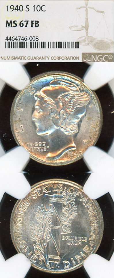 1940-S 10c MS 67 FB US mercury silver dime