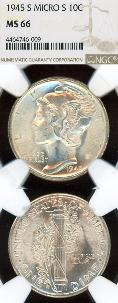 """1945-S 10c """"Micro S"""" US mercury silver dime"""