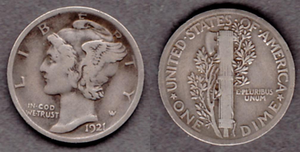 1921 10c US Mercury head silver dime