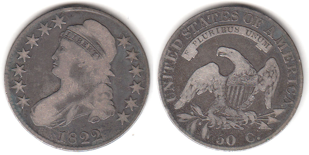 1822 50c US Capped Bust Silver Half Dollar