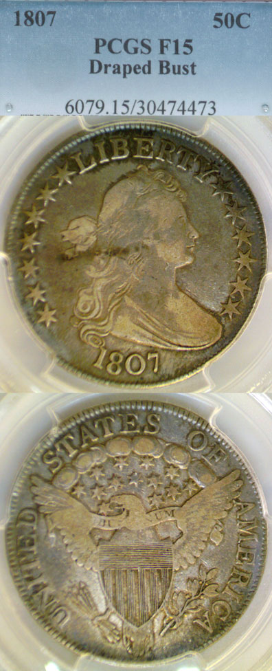1807 50c US Draped Bust silver half dollar