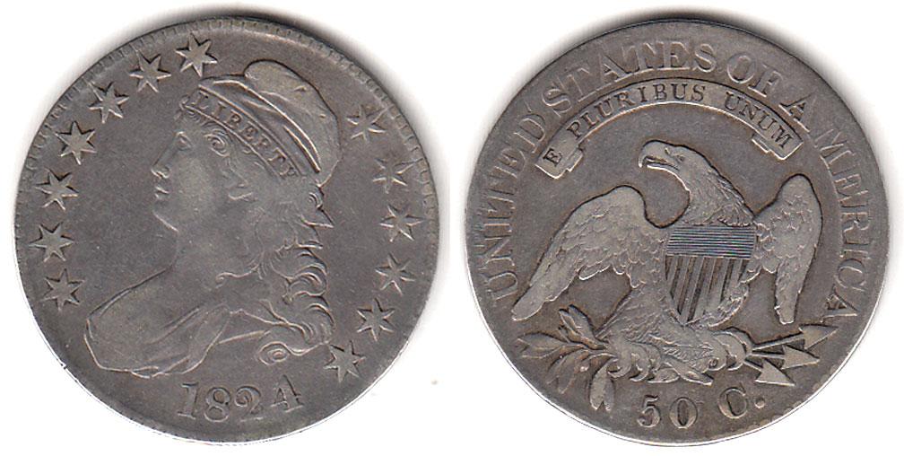 1824 4 over 4 50c Overton variety