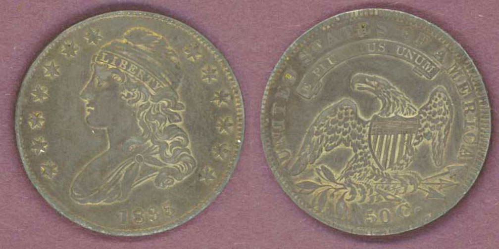 1835 50c US Capped Bust silver half dollar PCGS AU 50