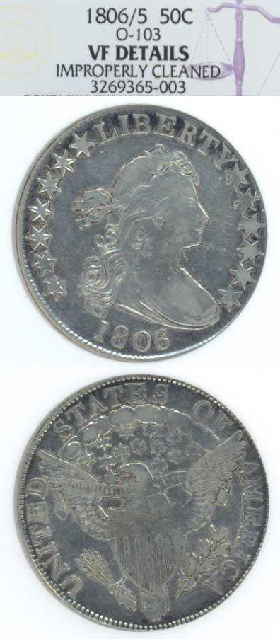 1806/5 50c US Draped Bust silver half dollar