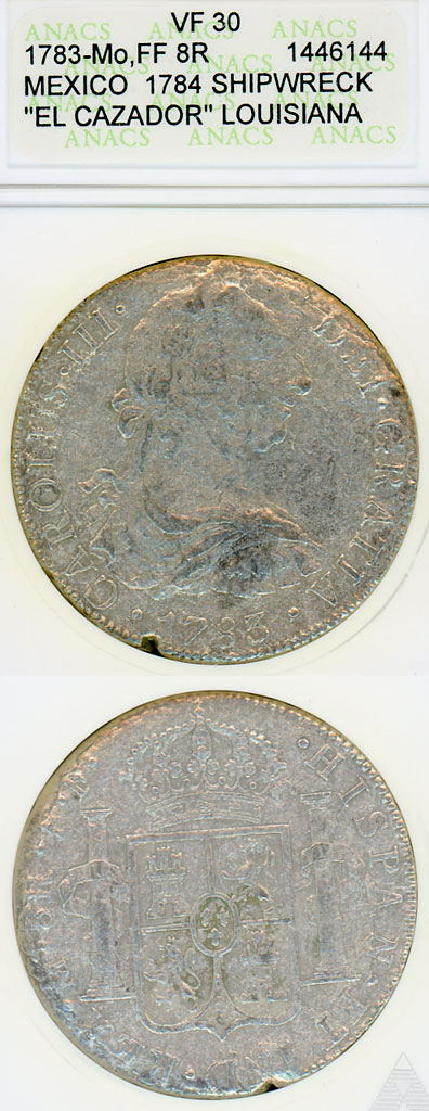 """1783 8 Real """"El Cazador"""" Shipwreck silver coin"""