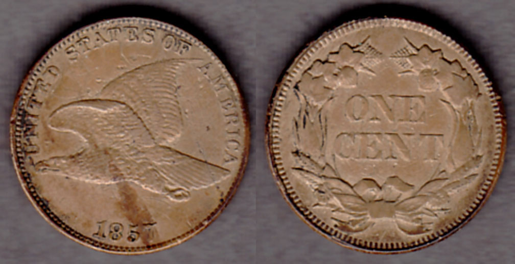 1857 1c US flying eagle cent