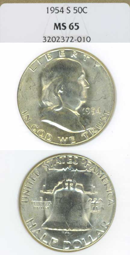 1954-S 50c US Franklin silver half dollar