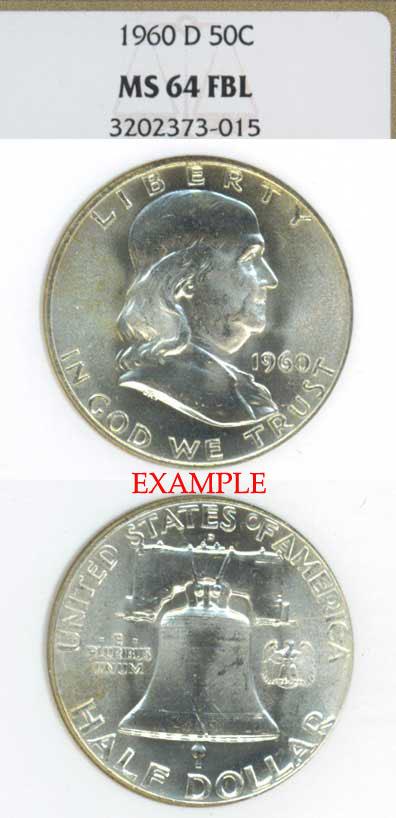 1960-D 50c US Franklin silver half dollar NGC MS 64 FBL