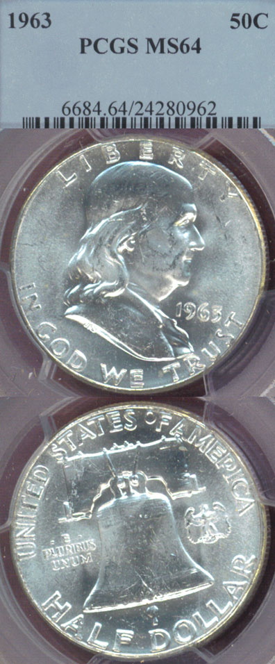 1963 50c US Franklin silver half dollar PCGS MS 64