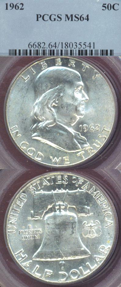 1962 50c US Franklin silver half dollar PCGS MS 64