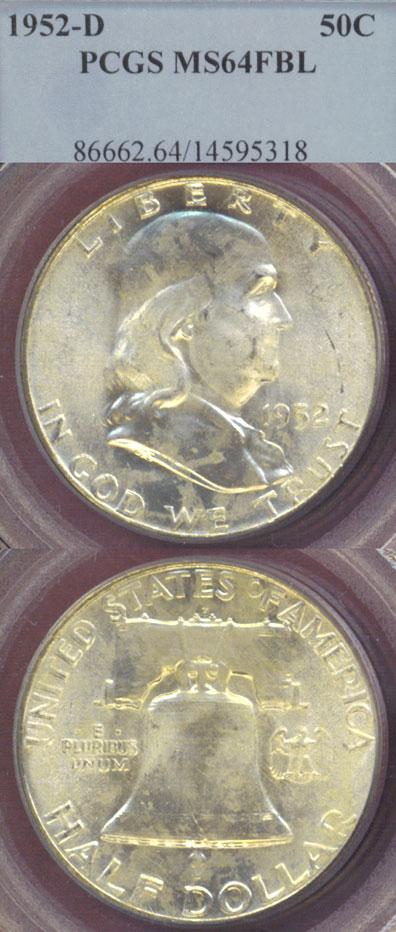 1952-D 50c US Franklin silver half dollar