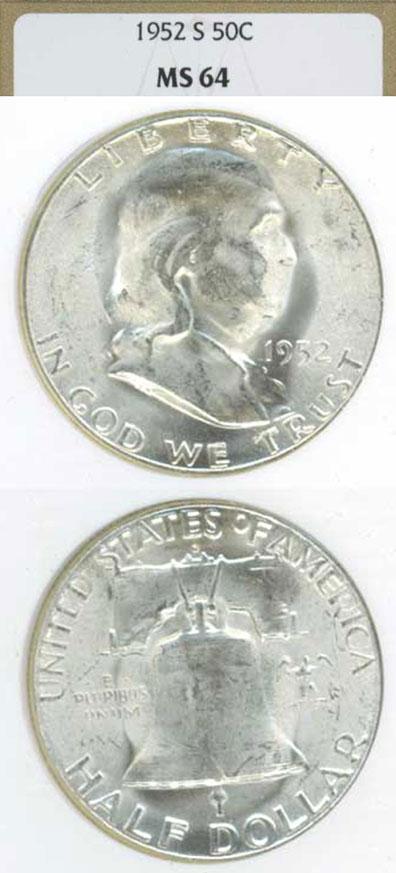1952-S 50c US Franklin silver half dollar NGC MS 64