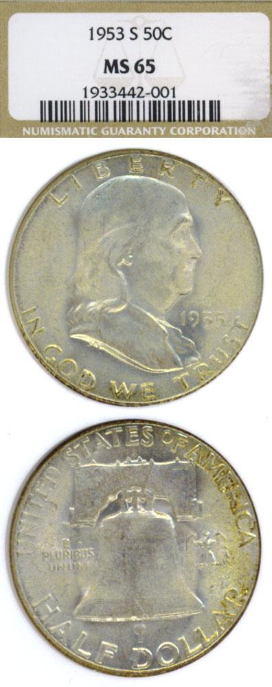 1953-S 50c US Franklin half dollar NGC MS 65