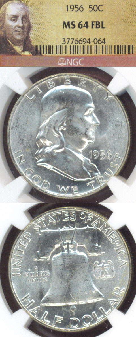 1956 50c US Franklin half dollar NGC MS-64 FBL