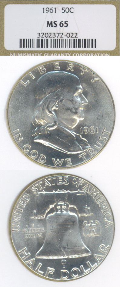1961 50c  US Franklin silver half dollar