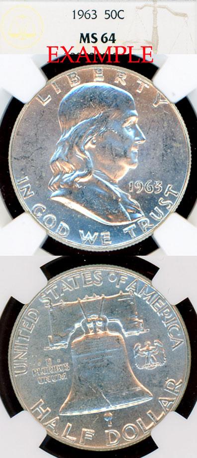 1963 50c US Franklin silver half dollar NGC MS 64