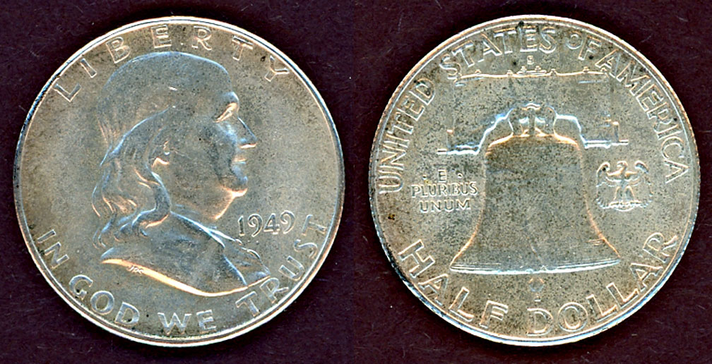 1949-S 50c US Franklin silver half dollar