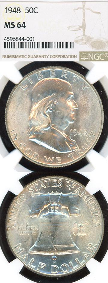 1948 50c US Franklin silver half dollar NGC MS 64