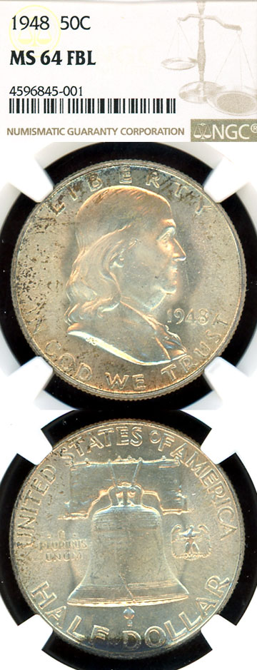 1948 50c US Franklin silver half dollar NGC MS 64 FBL