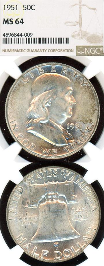 1951 50c US Franklin silver half dollar NGC 64