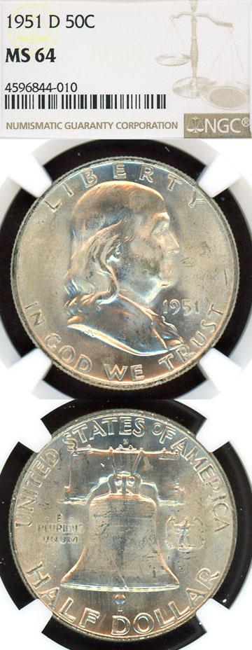 1951-D 50c US Franklin silver half dollar NGC 64