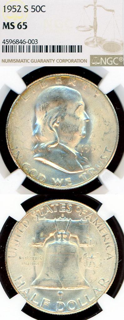 1952-S 50c US Franklin silver half dollar NGC MS 65