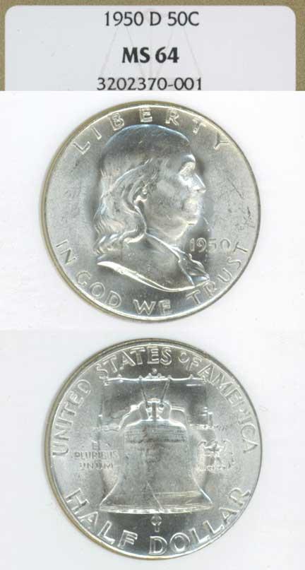 1950-D 50c US Franklin silver half dollar NGC MS 64