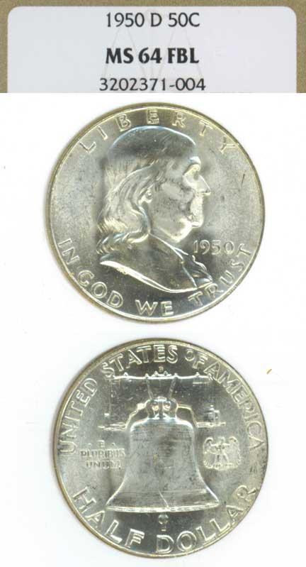 1950-D 50cUS Franklin silver half dollar NGC MS 64 FBL