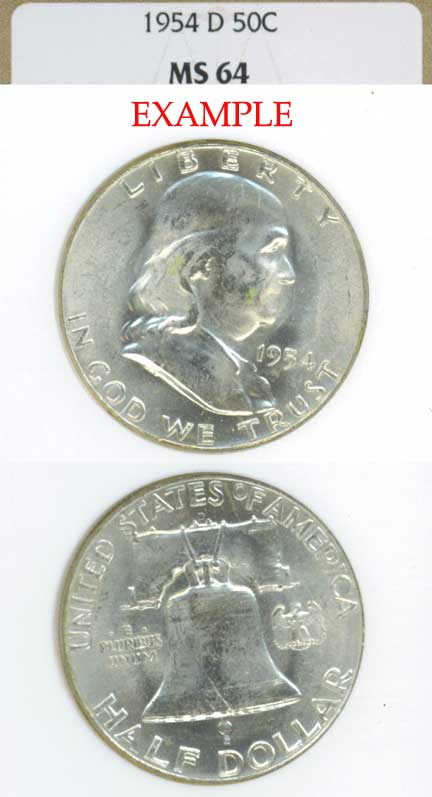 1954-D 50c US Franklin silver half dollar
