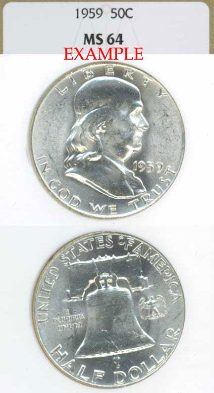 1959 50c US Franklin silver half dollar NGC MS 64