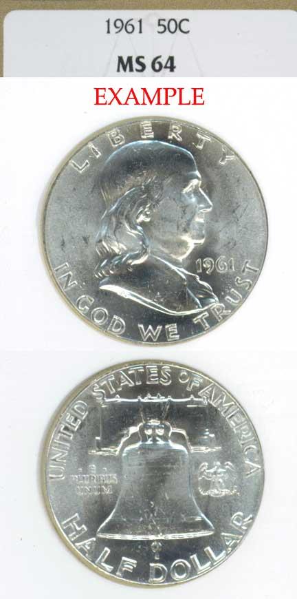 1961 50c US Franklin silver half dollar NGC MS 64
