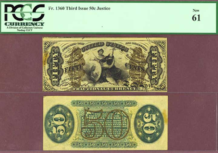 50 Cents Third Issue FR-1360 US fractional currency Justice PCGS New 61