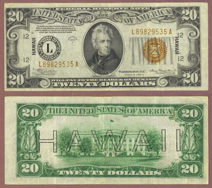 "1934-A $20 FR-2305 ""Hawaii"" US Emergency Issue Federal Reserve note"