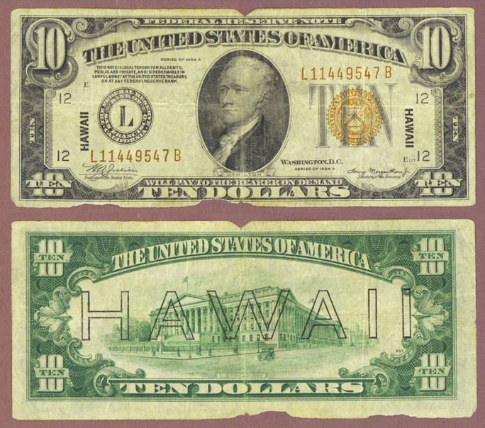 "1934-A $10.00 FR-2303 ""Hawaii"" US Emergency Issue Federal Reserve note"