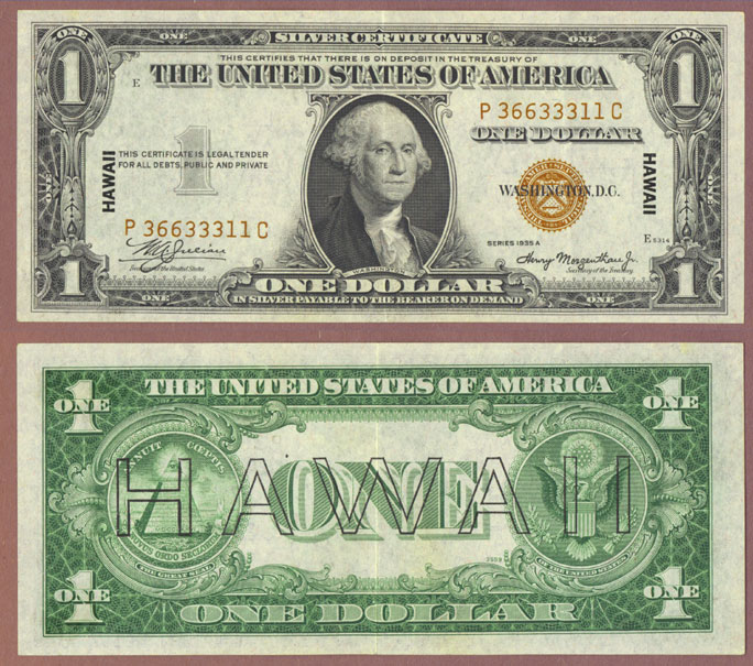 "1935-A $1.00 FR-2300 ""Hawaii"" US Emergency Issue Federal Reserve note"