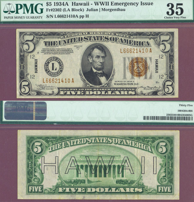 "1934-A $ 5.00 FR-2302 ""Hawaii"" US Emergency Issue Federal Reserve note"