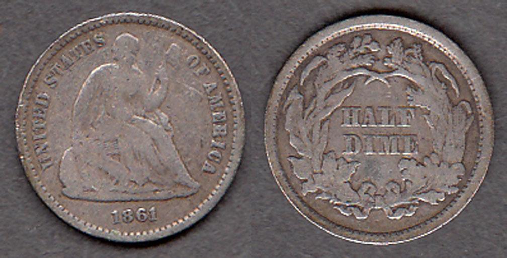 1861 US silver Half Dime