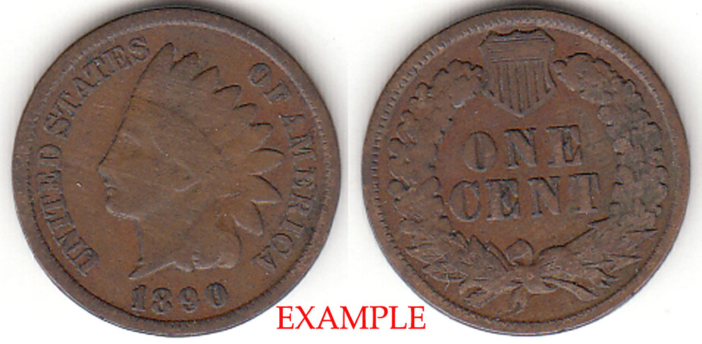 1890 1c Indian Head Penny, Indian head cent