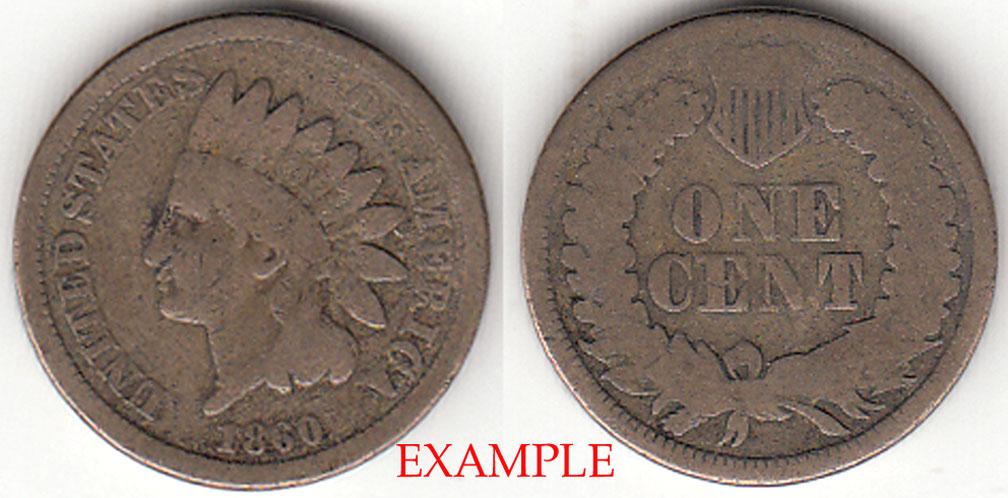 1860 1c Indian Cent