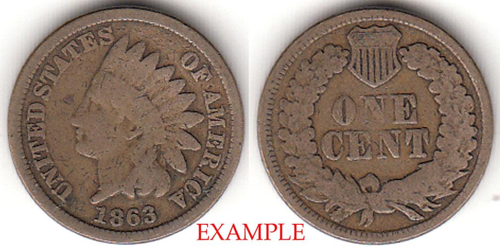 1863 1c Indian Cent