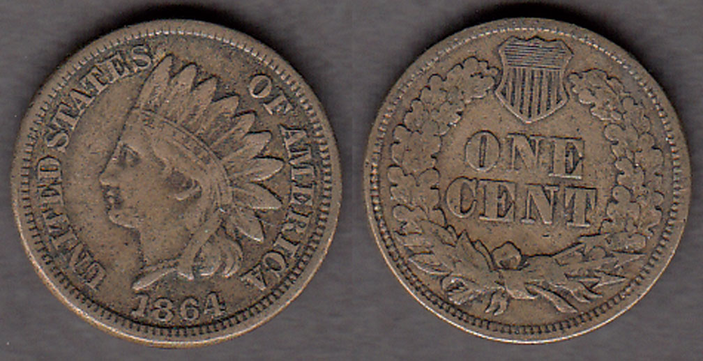 1864 1c US copper nickle indian cent