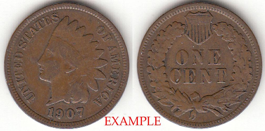 1907 1c US Indian cent